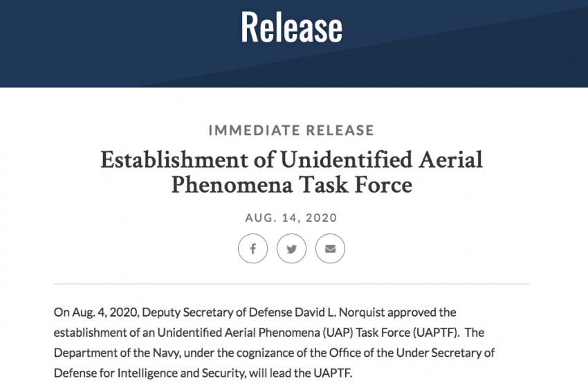 Pentagon Establishes Unidentified Aerial Phenomena Task Force