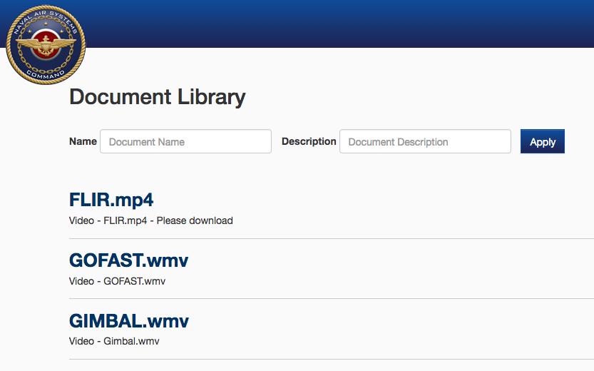 Original Links to Download Videos Released by U.S. Navy