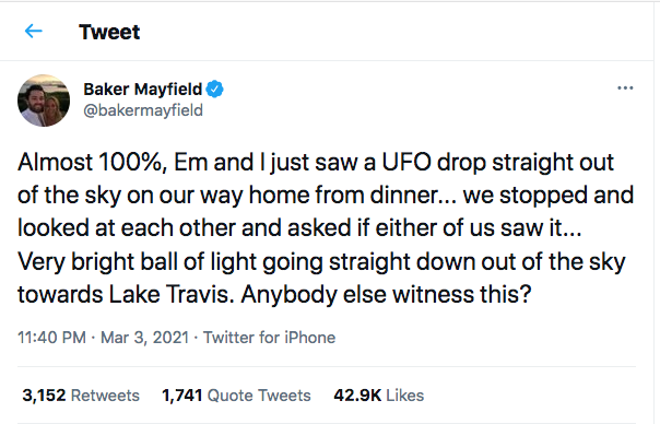Baker Mayfield and Wife Report UFO Sighting
